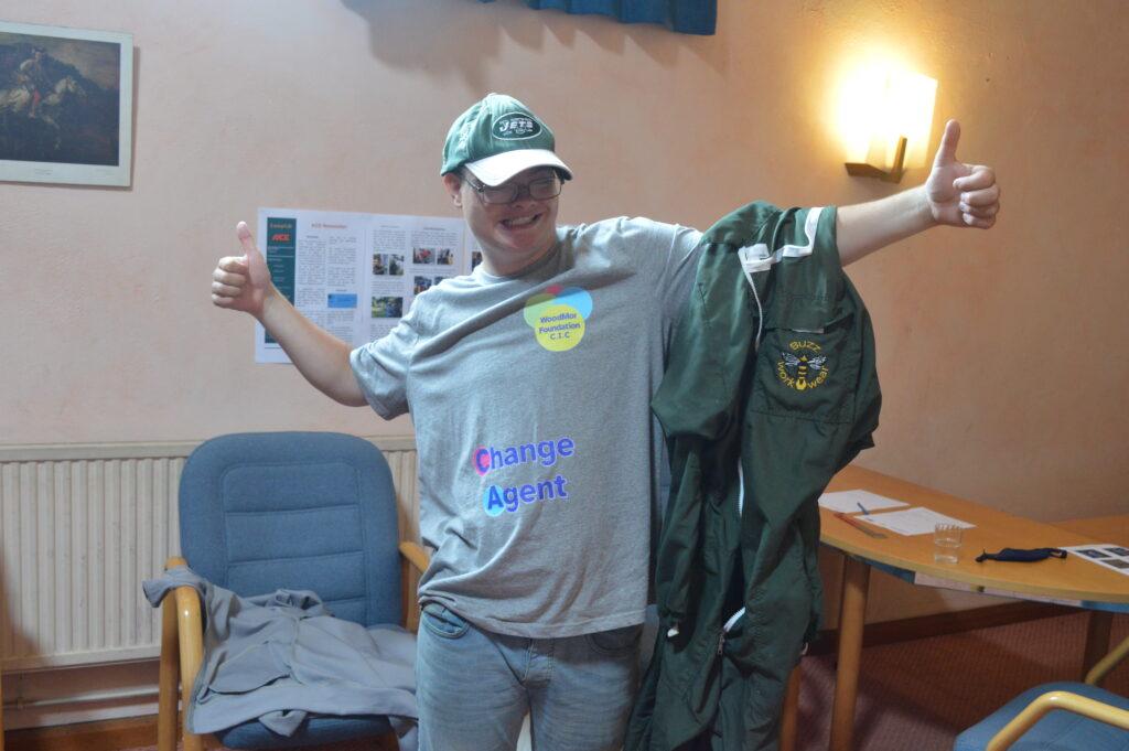Byron our Camphill Scholar wearing a Woodmor t-shirt